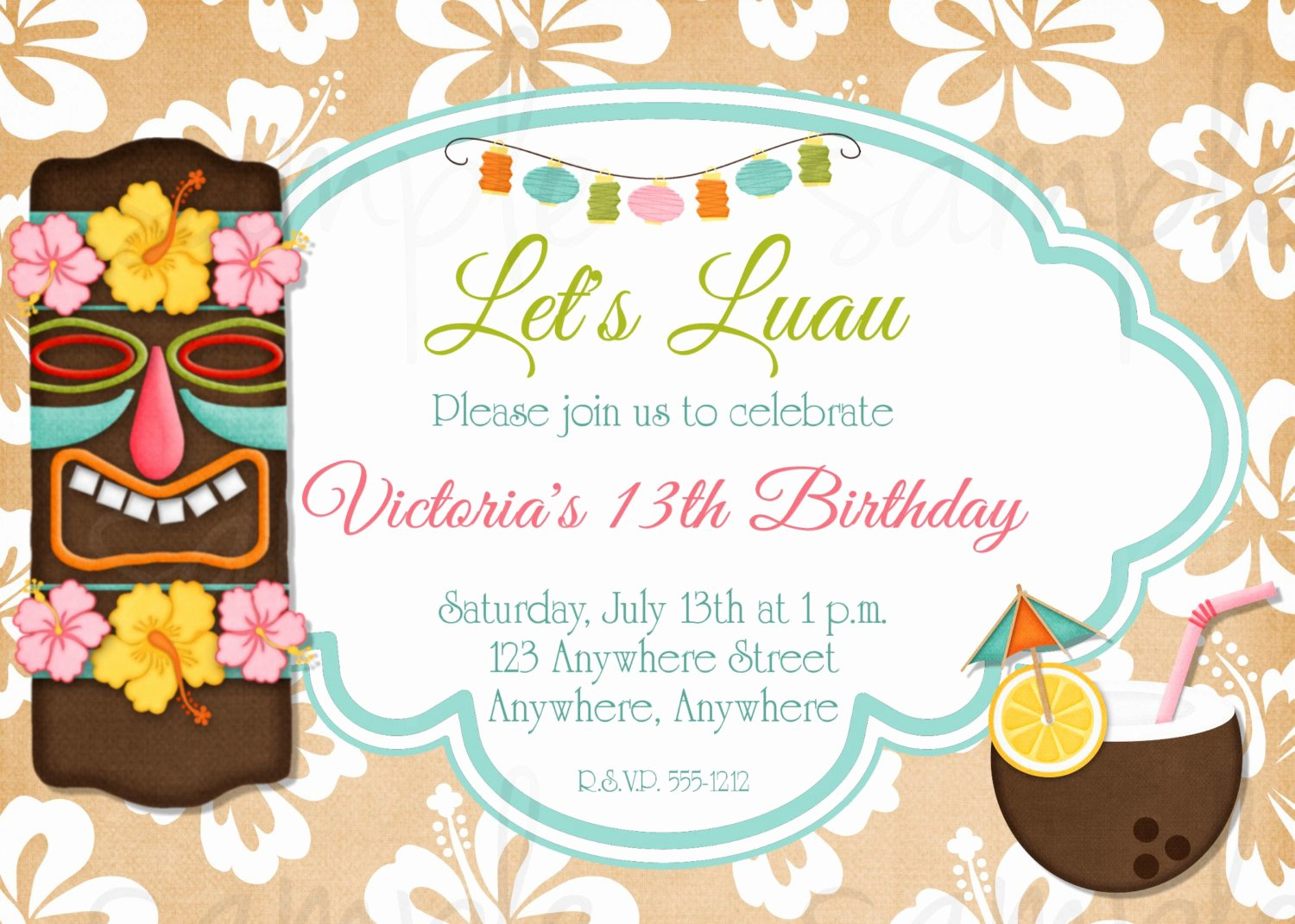 Hawaiian Party Invitation Template Awesome 8 Best Of Tiki Party Invitation Free Printable