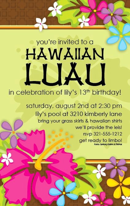 Hawaiian Party Invitation Template Awesome Free Printable Luau Invitation Templates
