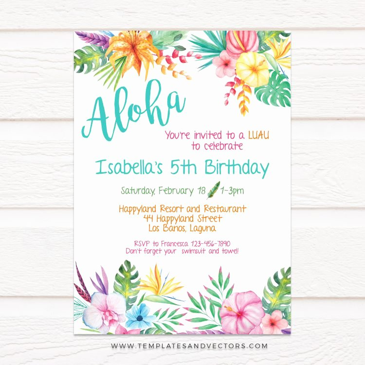 Hawaiian Party Invitation Template Beautiful Aloha Hawaiian Party Birthday Invitation Diy Printable