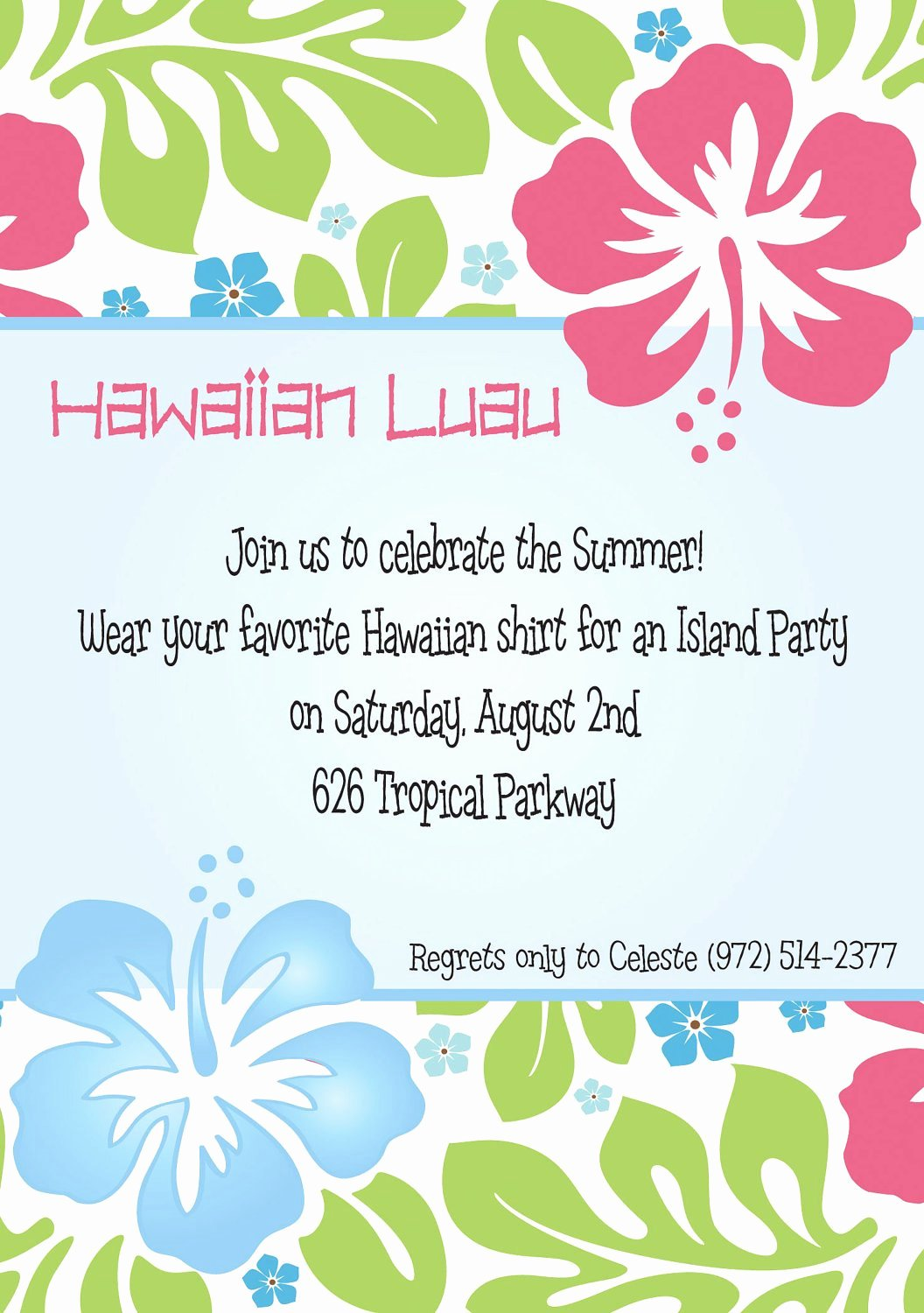 Hawaiian Party Invitation Template Beautiful Hawaiian Luau Party Invitation