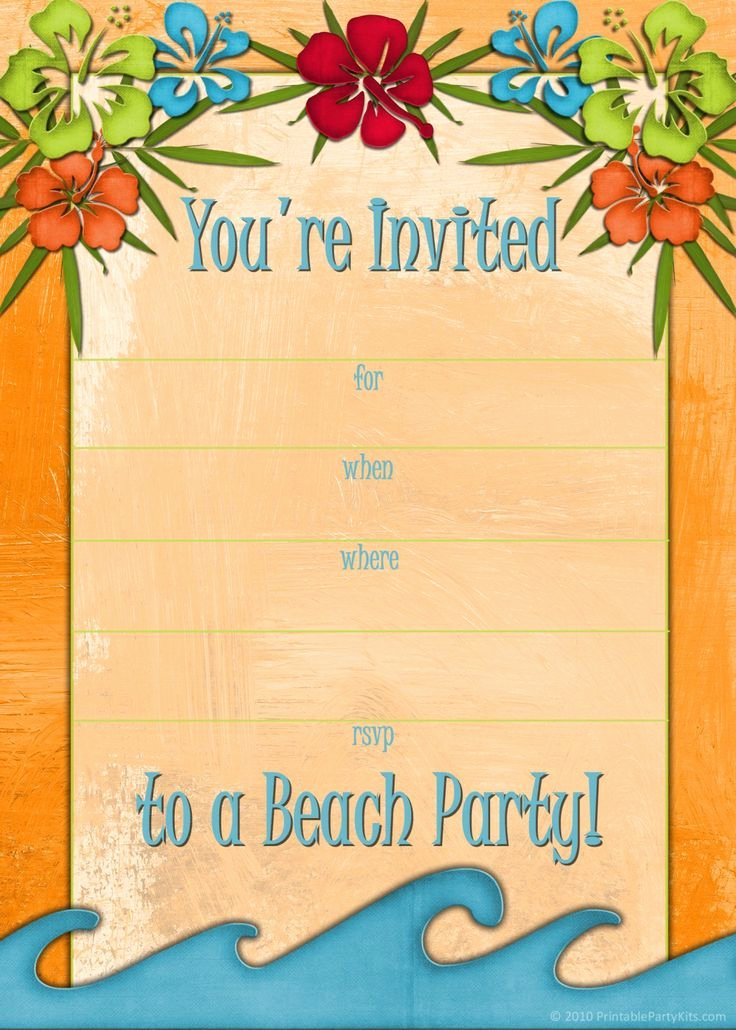 Hawaiian Party Invitation Template Best Of Free Printable Luau Birthday Invitations