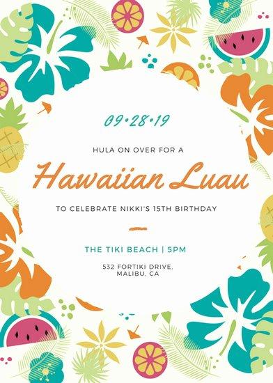 Hawaiian Party Invitation Template Best Of Luau Invitation Templates Canva