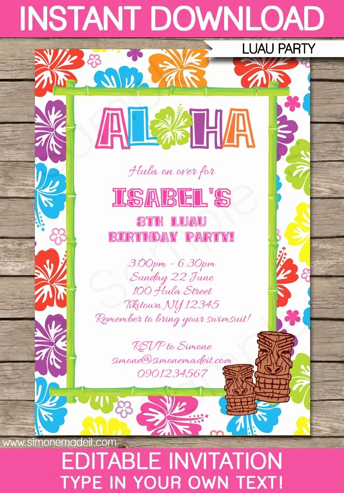 Hawaiian Party Invitation Template Elegant 25 Best Ideas About Luau Birthday Invitations On