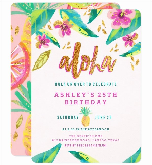 Hawaiian Party Invitation Template Fresh 14 Luau Invitation Designs & Templates Psd Ai