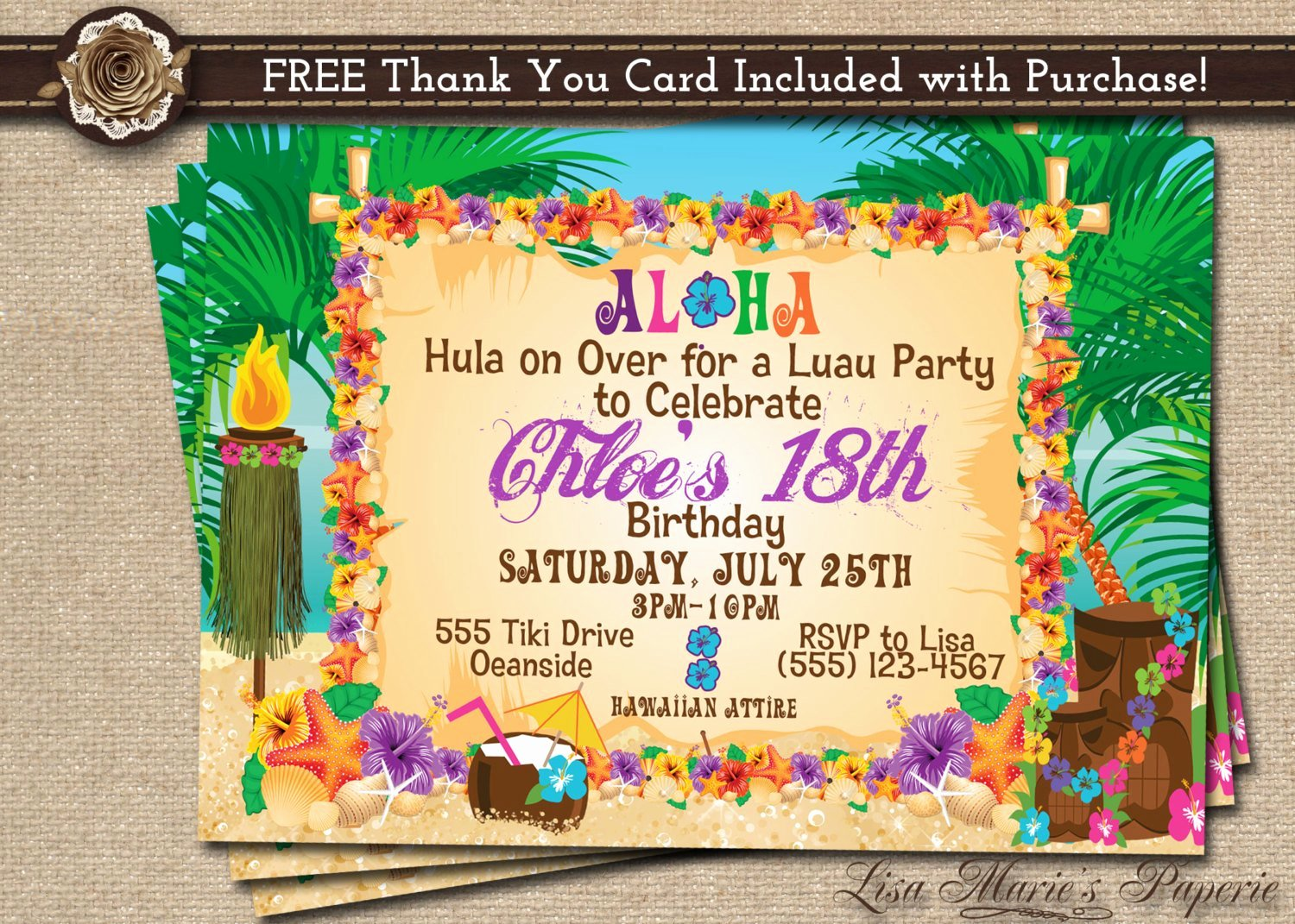 Hawaiian Party Invitation Template Fresh Hawaiian Party Invitation Luau Birthday Invitation Luau