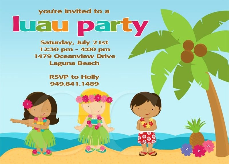 Hawaiian Party Invitation Template Inspirational Hawaiian Birthday Invitations for Kids