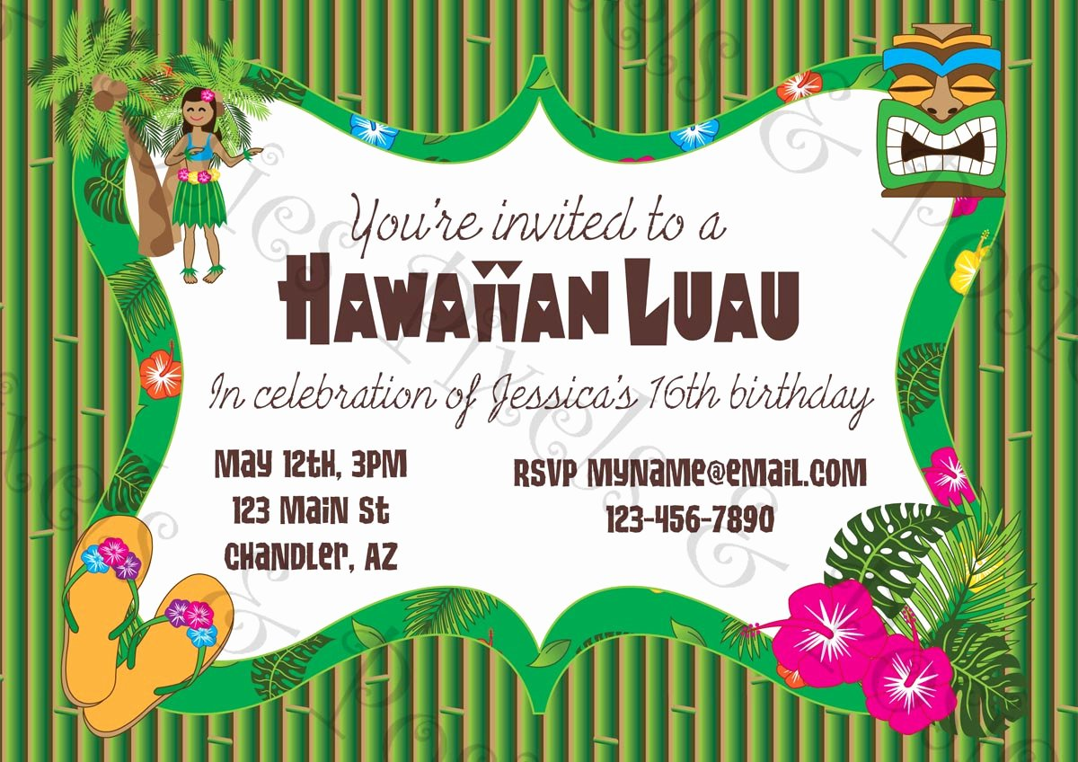 Hawaiian Party Invitation Template Inspirational Printable Luau Invitation Clipart Clipart Suggest