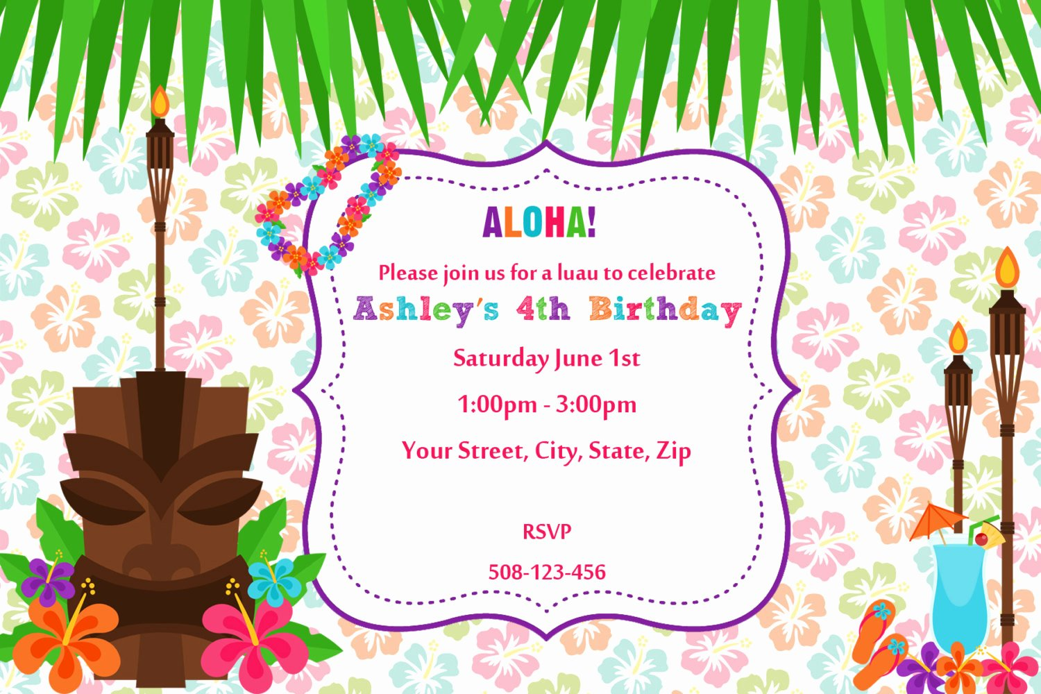 Hawaiian Party Invitation Template Lovely 20 Luau Birthday Invitations Designs
