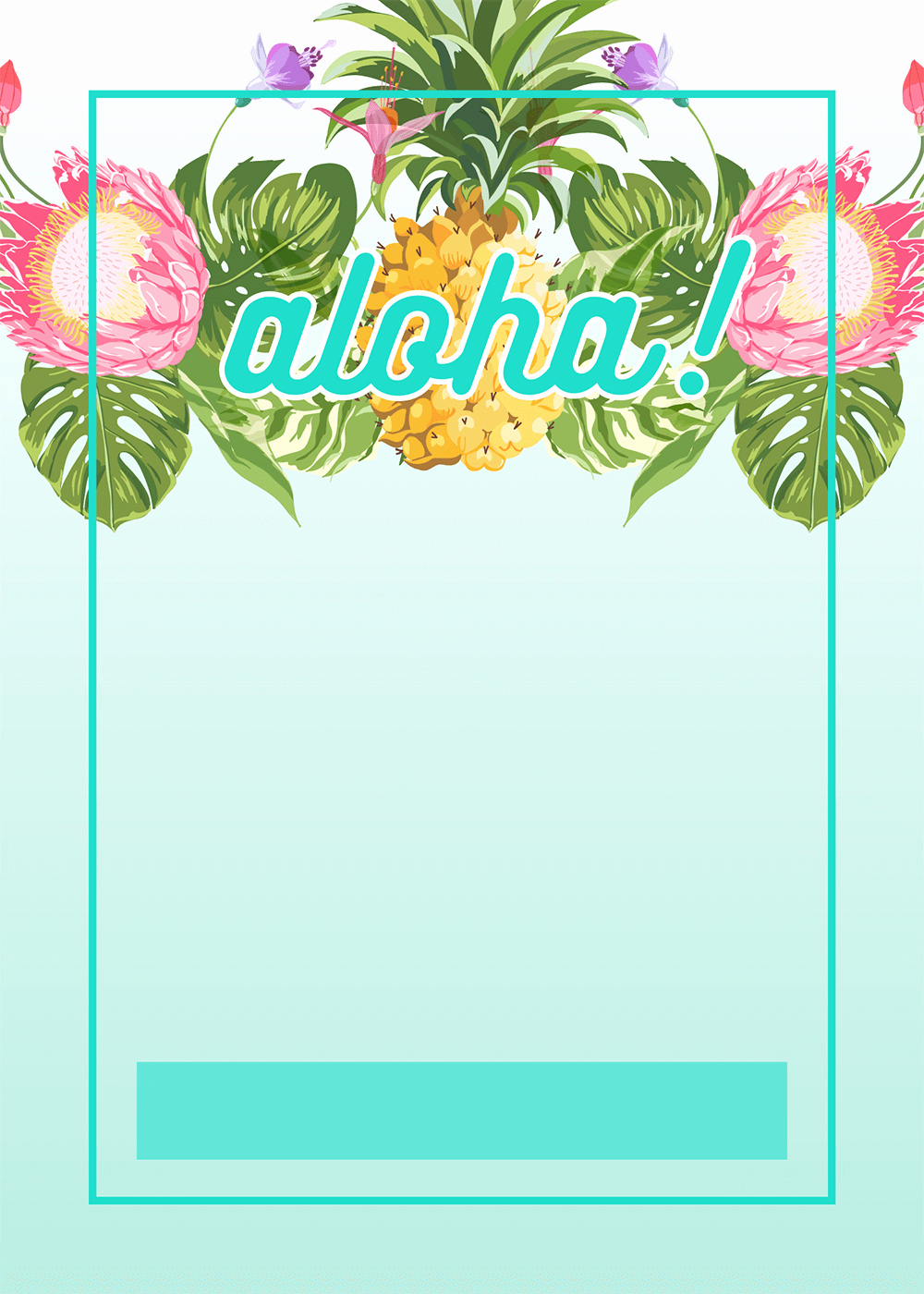 Hawaiian Party Invitation Template Lovely Pineapple Luau Perimeter Free Printable Birthday