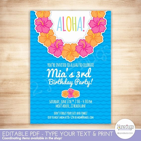 Hawaiian Party Invitation Template Luxury Luau Party Invitation Luau Birthday Party Invitation