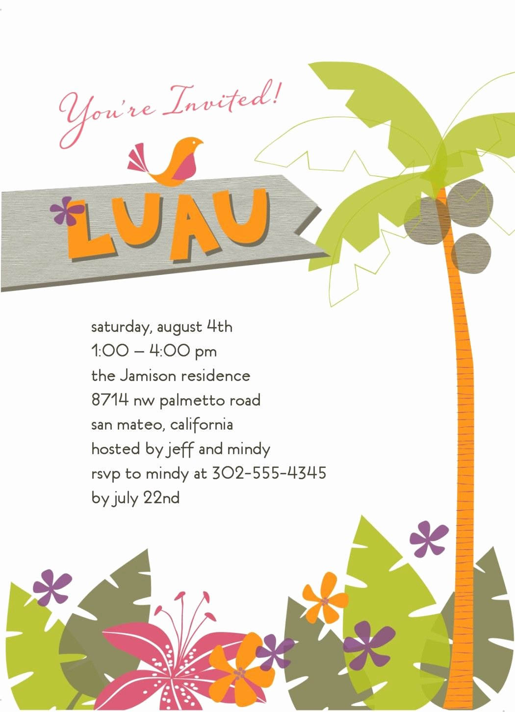 Hawaiian Party Invitation Template Unique Tropical Invitation Luau In 2019 Pinterest