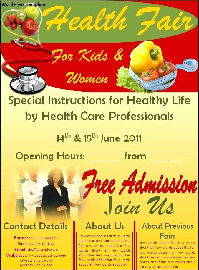 Health Fair Flyer Template Awesome Health Fair Flyer Ideas Sample and School Wellness