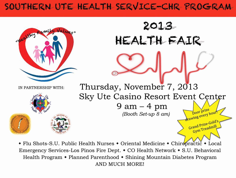 Health Fair Flyer Template Unique the southern Ute Drum
