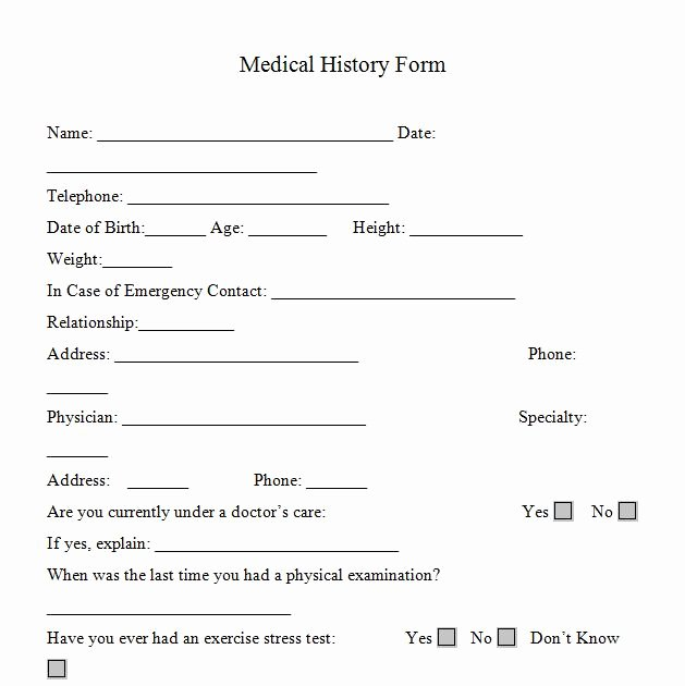 Health History form Template Fresh Medical History form Printable – Medical form Templates