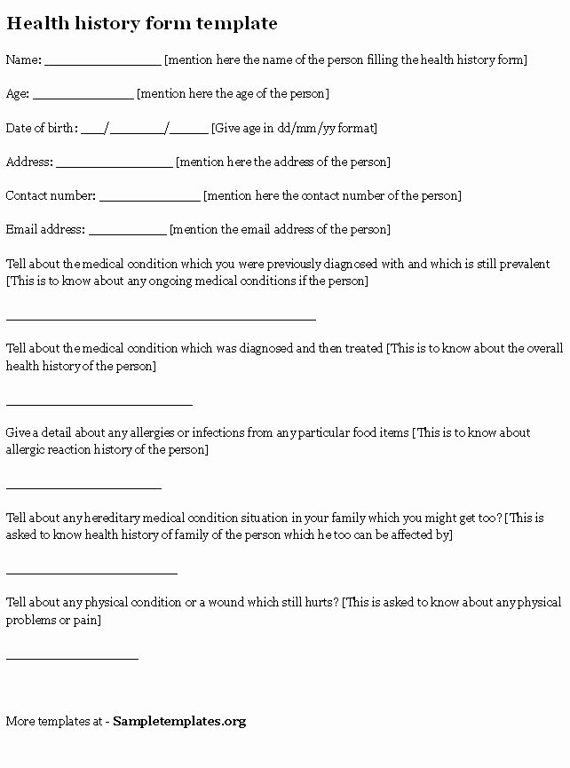 Health History form Template Lovely Health History form Sample Of Health History form