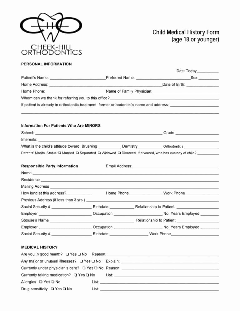 Health History form Template Luxury 67 Medical History forms [word Pdf] Printable Templates