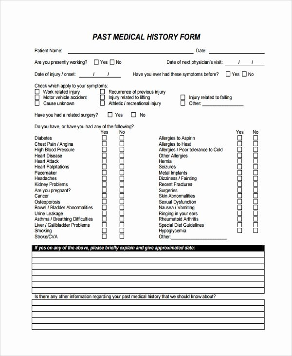 Health History form Template New 10 Medical History Templates
