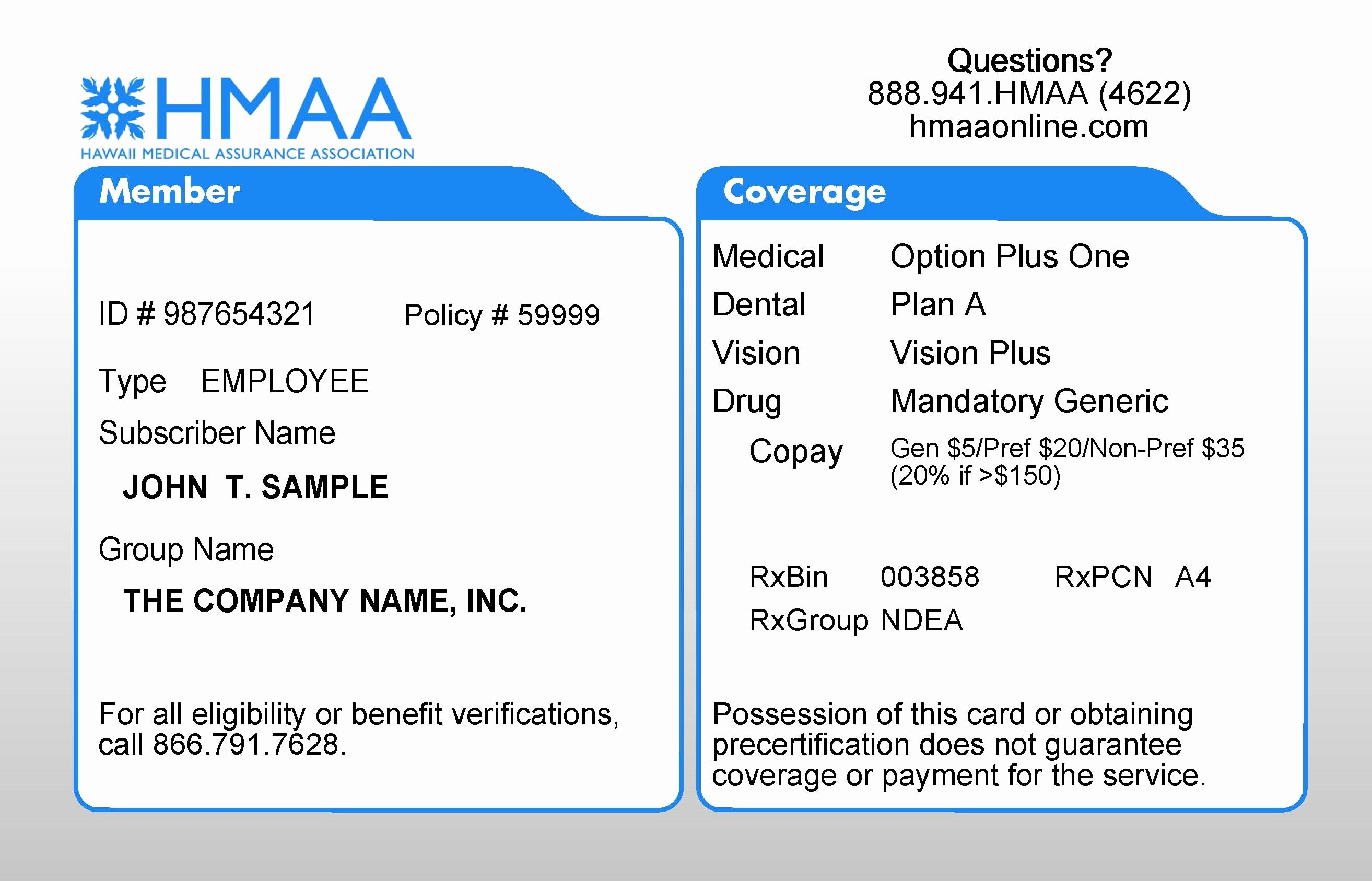 Health Insurance Card Template Awesome Sample Insurance Cards