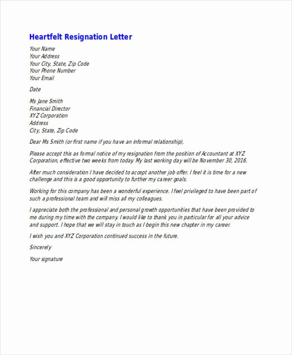 Heartfelt Resignation Letter Template Best Of 49 Resignation Letter Examples