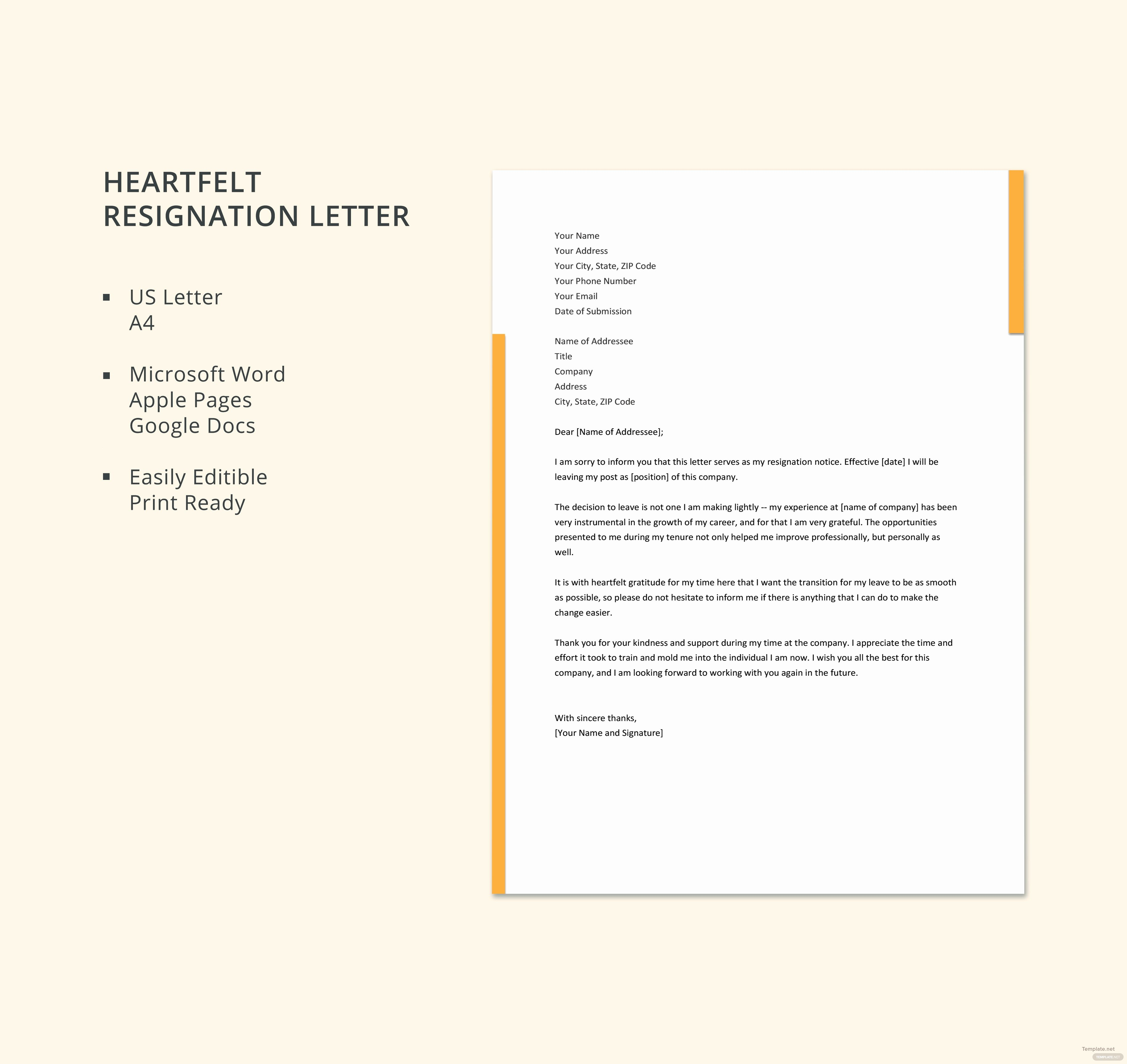 Heartfelt Resignation Letter Template Unique Free Heartfelt Resignation Letter Template In Microsoft