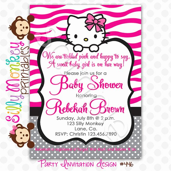 Hello Kitty Invitation Template Awesome Hello Kitty Baby Shower Invitation Charites Show with Free