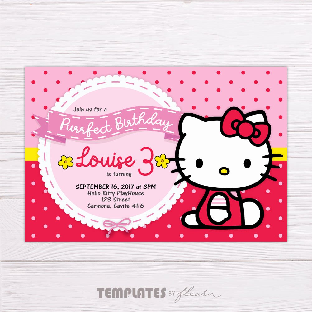 Hello Kitty Invitation Template Beautiful Hello Kitty Polka Dot Birthday Invitation Template – Flearn Ph