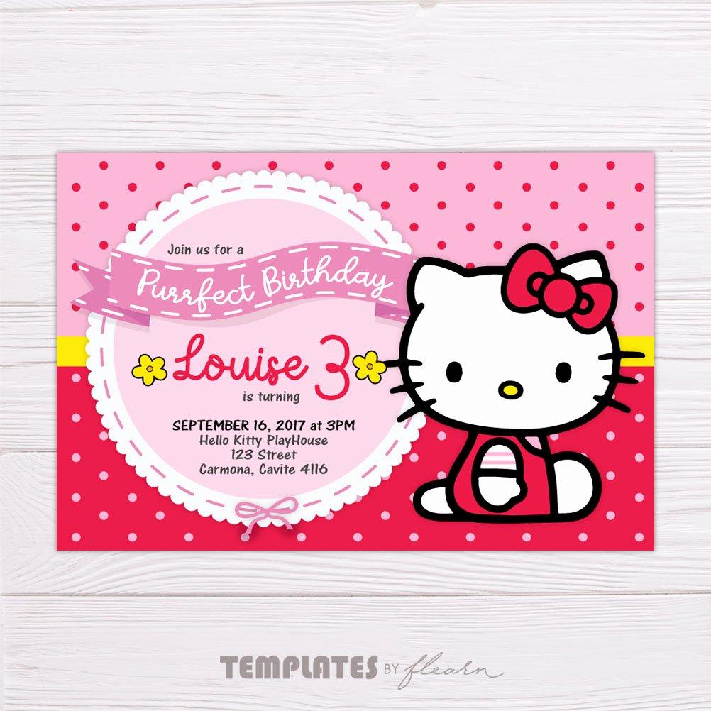 Hello Kitty Invitation Template Beautiful Hello Kitty Polka Dot Birthday Invitation Template – Flearn Ph