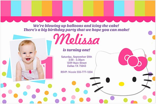 Hello Kitty Invitation Template Elegant Hello Kitty 1st Birthday Invitations