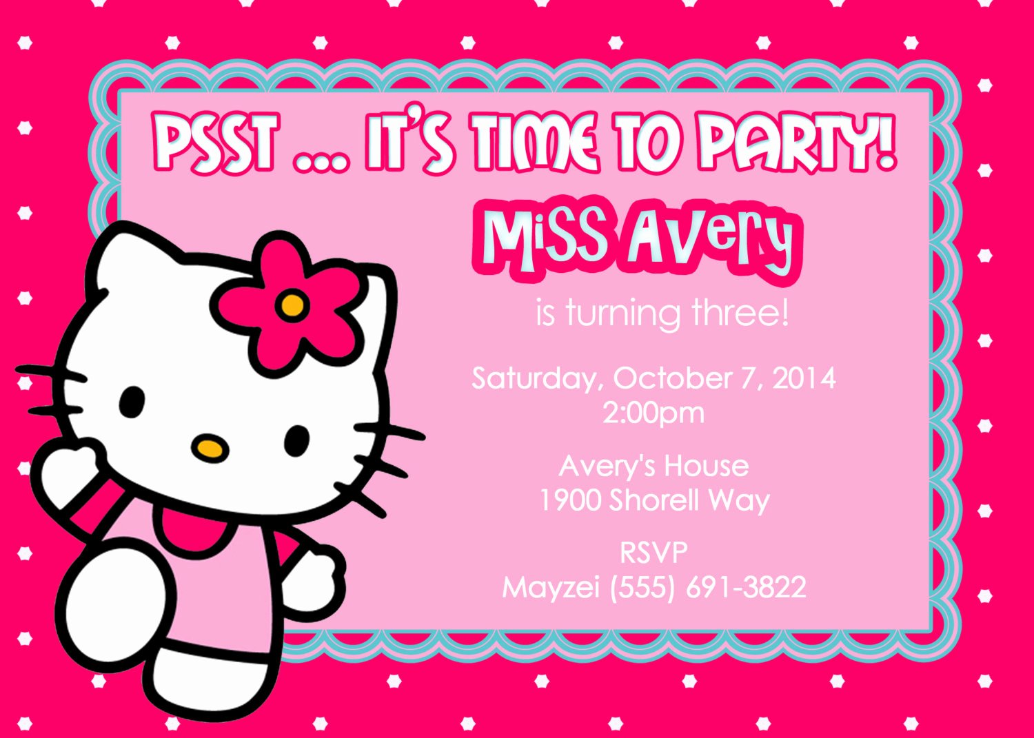 Hello Kitty Invitation Template Elegant Invitation Cards