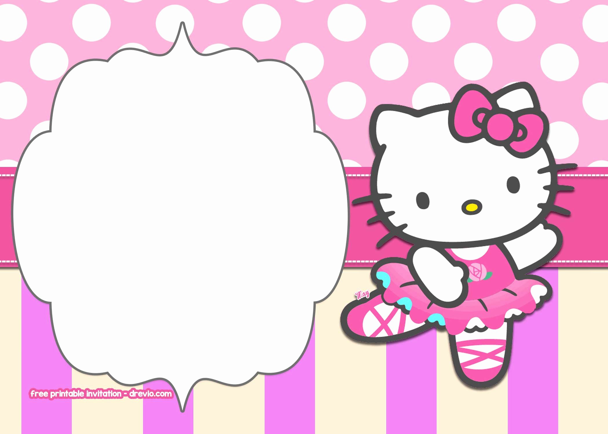 Hello Kitty Invitation Template Inspirational Free Printable Hello Kitty Pink Polka Dot Invitation