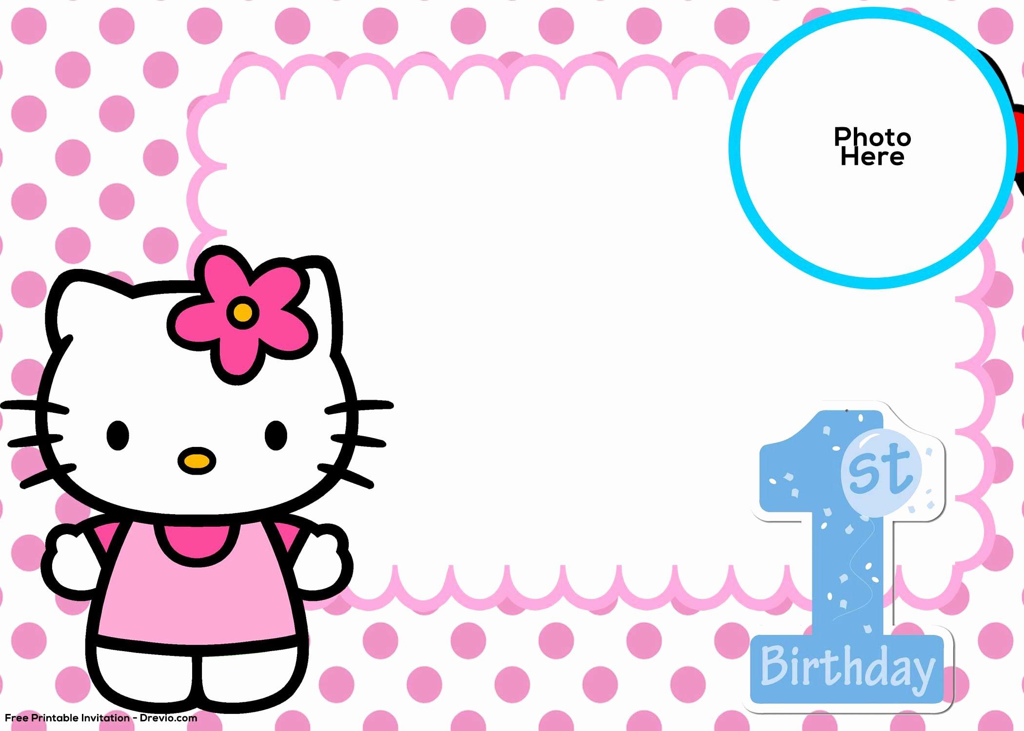 Hello Kitty Invitation Template Lovely Free Hello Kitty 1st Birthday Invitation Template