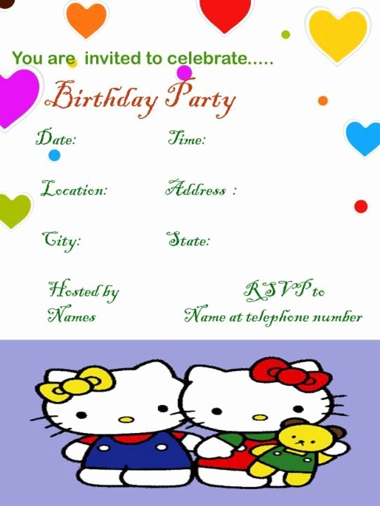 Hello Kitty Invitation Template New Hello Kitty Sample Birthday Invitation Template