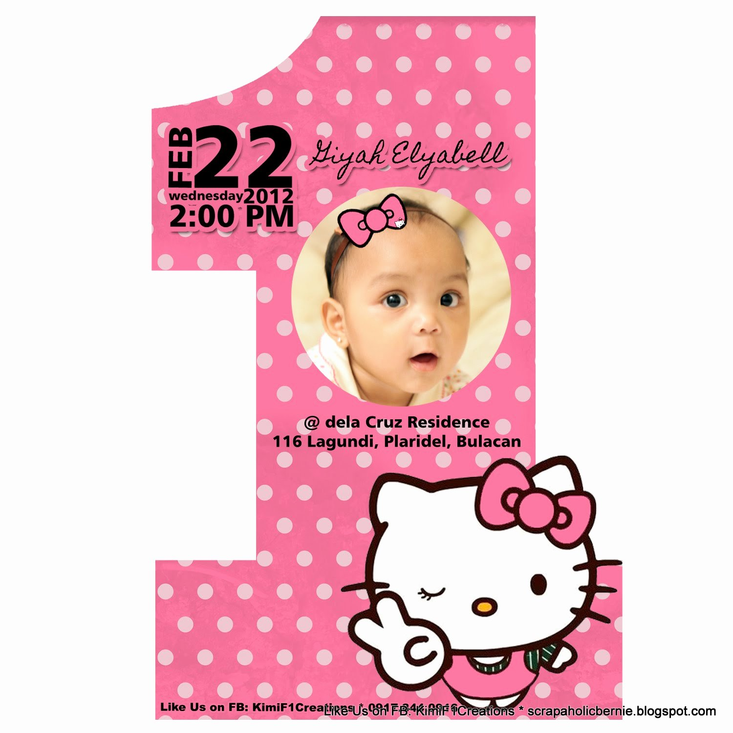 hello kitty 1st birthday 2 page