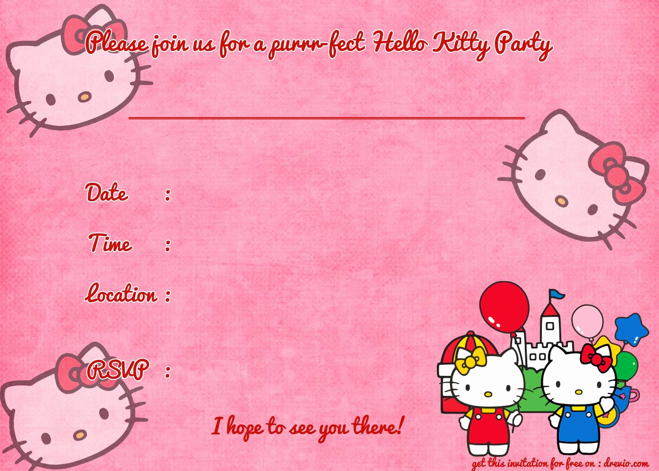 Hello Kitty Invite Template Awesome Printable Hello Kitty Birthday Invitation