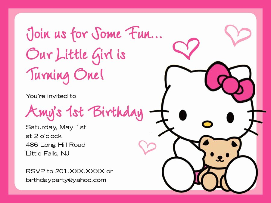 Hello Kitty Invite Template Beautiful Hello Kitty Birthday Invitation Cards Free