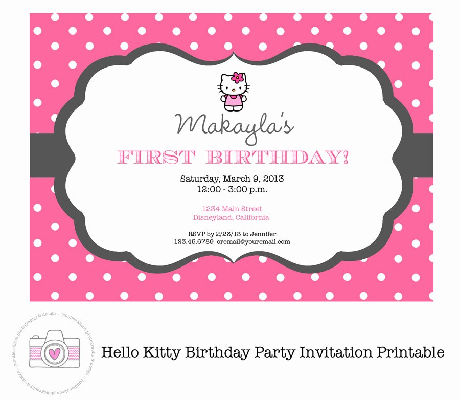 Hello Kitty Invite Template Beautiful Hello Kitty Printable Birthday Invitations Template