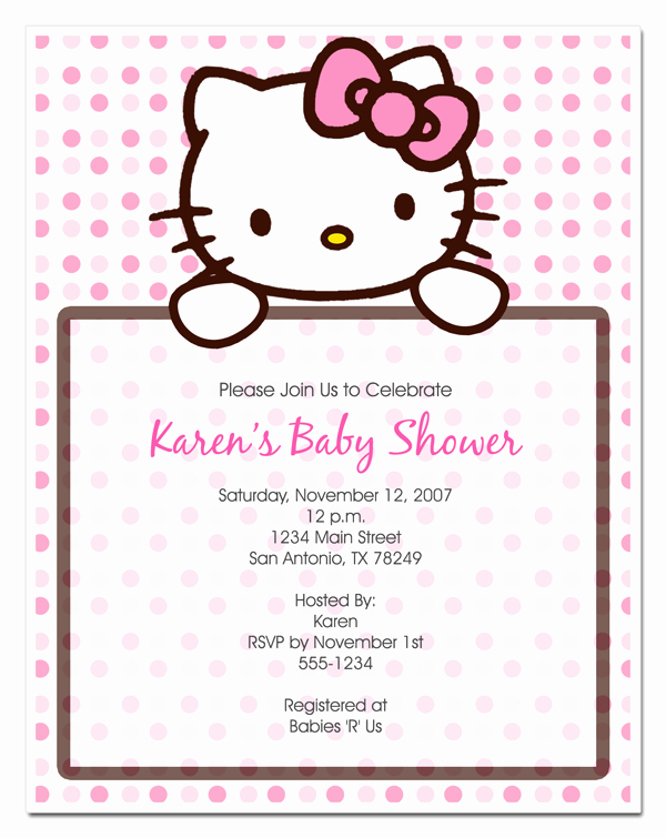 Hello Kitty Invite Template Elegant Hello Kitty Invitation