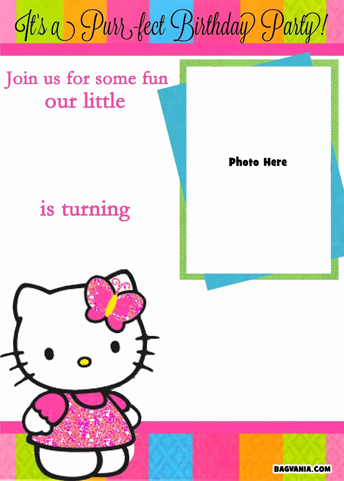 Hello Kitty Invite Template Inspirational Free Printable Hello Kitty Birthday Invitations – Bagvania