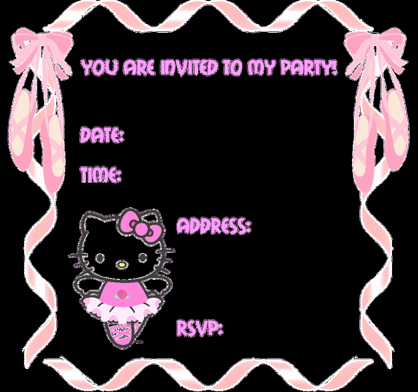 Hello Kitty Invite Template Luxury Hello Kitty Blank Party Invitations