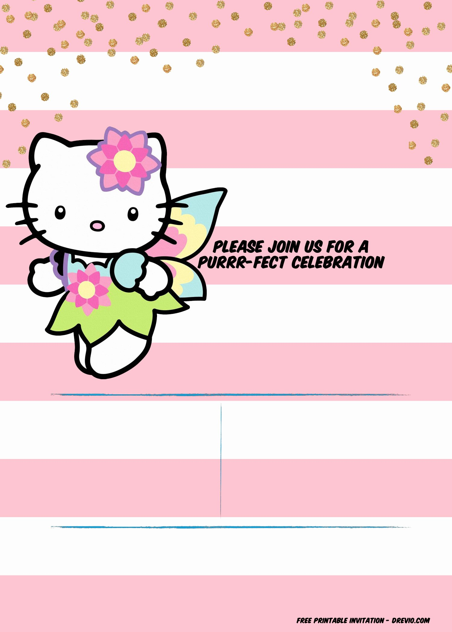 Hello Kitty Invite Template Unique Hello Kitty Invitation Template – Portrait Mode