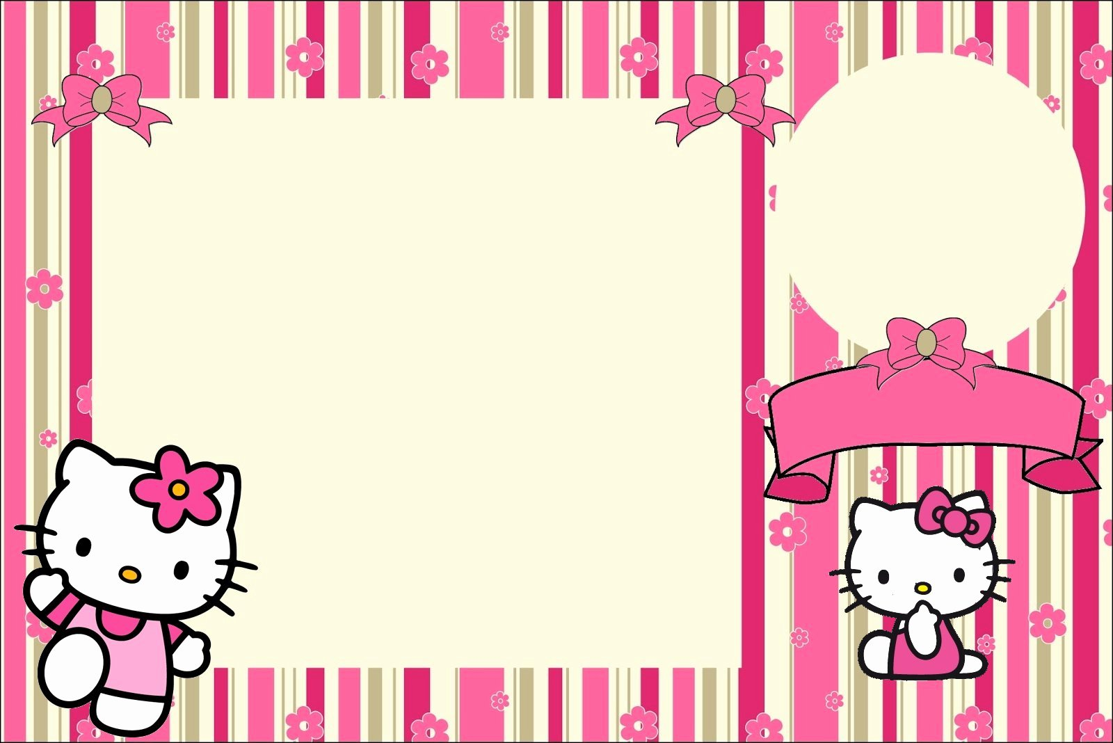 Hello Kitty Invite Template Unique Hello Kitty with Flowers Free Printable Invitations