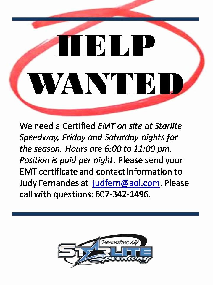 Help Wanted Ad Template Awesome Help Wanted Ad 2 Starlite Speedway