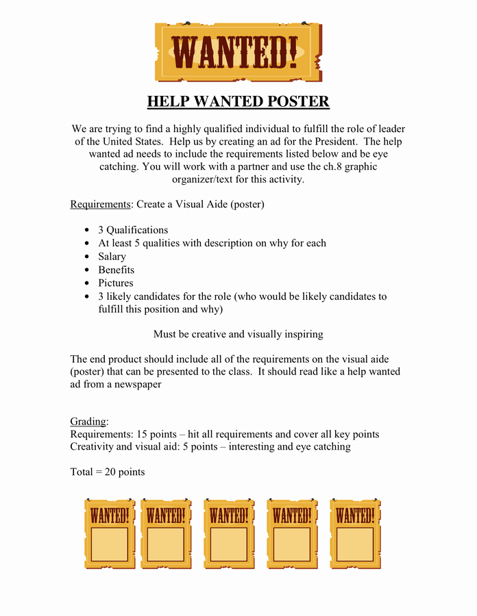 Help Wanted Ad Template Lovely Help Wanted Poster In Word and Pdf formats