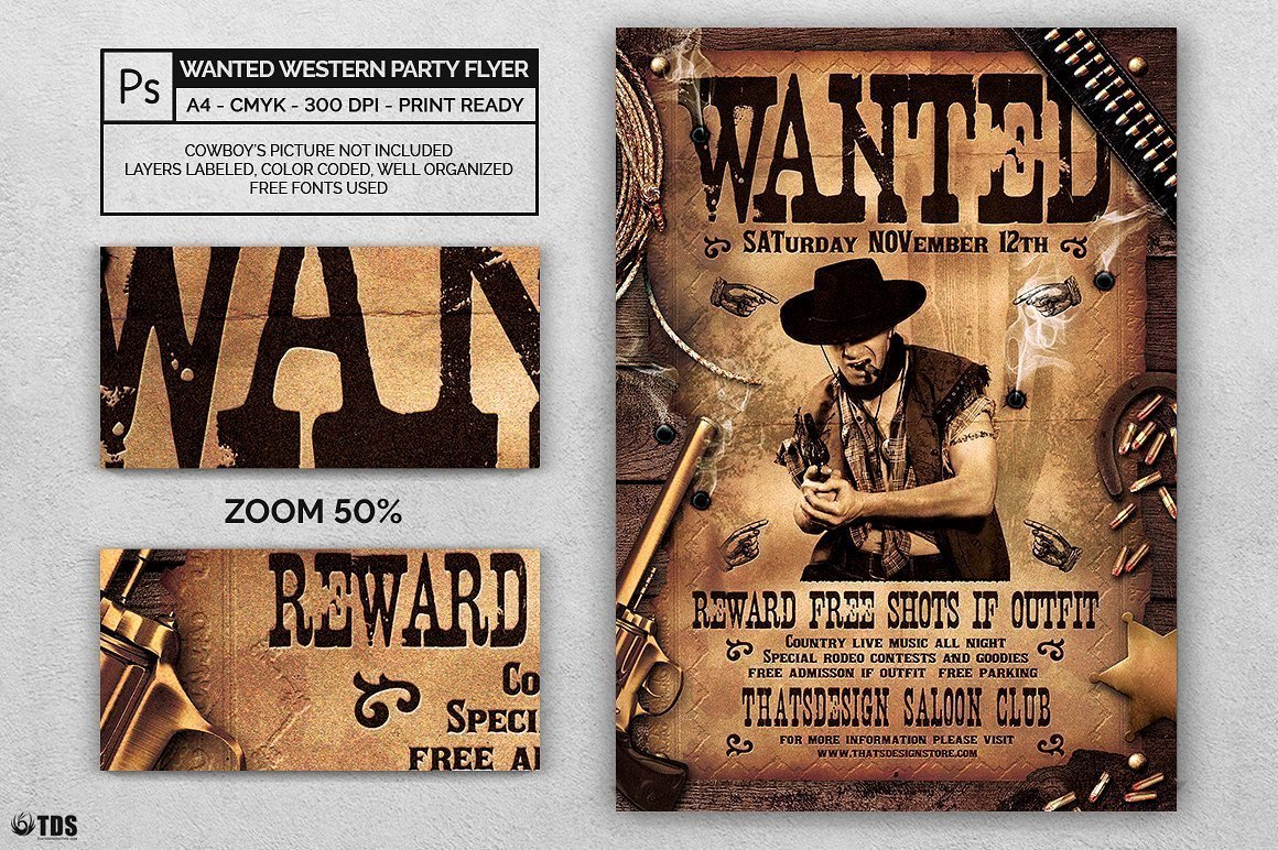 Help Wanted Flyer Template Lovely Wanted Western Party Flyer Template