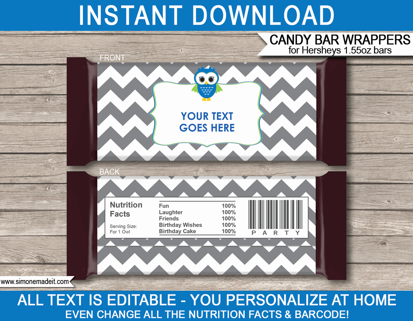 Hershey Bar Wrapper Template Lovely Owl Party Hershey Candy Bar Wrappers