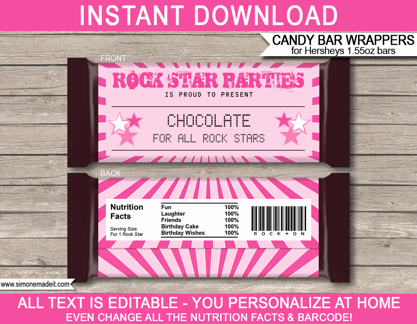 Hershey Candy Wrapper Template Best Of Rockstar Hershey Candy Bar Wrappers
