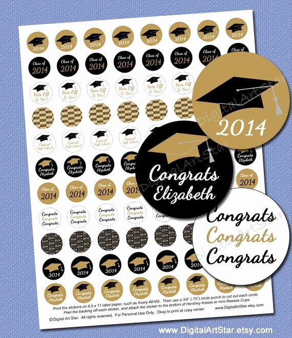 Hershey Kisses Labels Template Best Of Personalized Graduation Candy Stickers Printable by