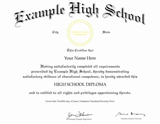 High School Diploma Template Awesome 15 High School Diploma Templates Free College