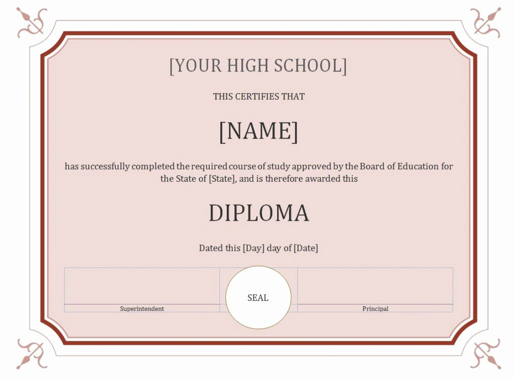 High School Diploma Template Elegant 50 Free High School Diploma Template Printable