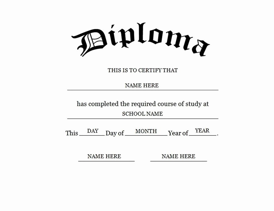 High School Diploma Template Lovely Blank High School Diploma Template Free Printables